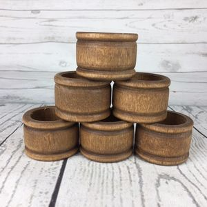 Other - Vintage Wooden Napkin Rings Set of 6 Holders Brown